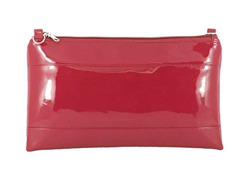 Kunst Lackleder Clutch/Schultertasche/Crossbody/Wristlet Hochzeit Tasche Größe Groß in weiß Raspberry Dark Pink