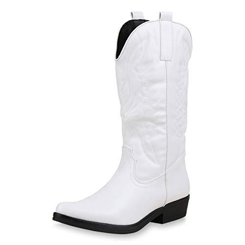 SCARPE VITA Damen Cowboystiefel Stickereien Western Stiefel Cowboy Boots 173421 Weiss 37
