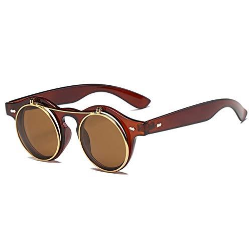 Sport-Sonnenbrillen, Vintage Sonnenbrillen, Fashion Round Steampunk Flip Up Sunglasses Men Women Vintage Double Layer Lens Design Classic Sun Glasses Oculos De Sol UV400 Brown Tea