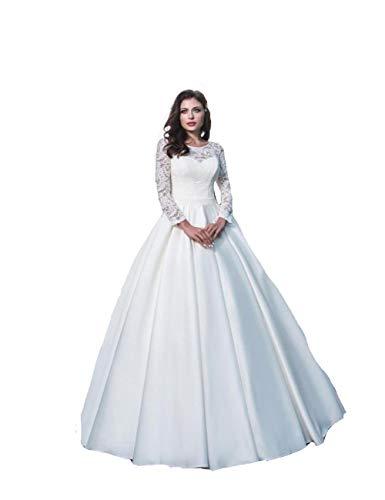 MerryGirl Spitze Appliques Hochzeitskleid mit Langen Ärmeln Lace up Zurück Frauen Elegante...