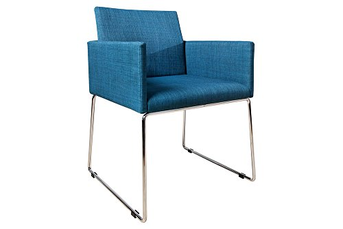 Eleganter Design Stuhl LIVORNO Strukturstoff blau Konferenzstuhl mit Armlehne