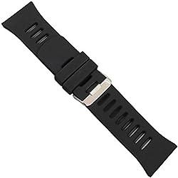 "Uhrbanddealer 30mm Ersatzband Uhrenarmband Silikon "" Silikon Trend S 5""schwarz Wasserfest Schließe Edelstahl 40330"