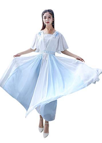 Susichou Hanfu blau-weiß Spleißing chinesisches National Kostüm Fee Kleid Performance Kostüm Abschluss Foto Erwachsene Zeremonie Gr. X-Large, - Chinesischen Nationalen Kleid Kostüm