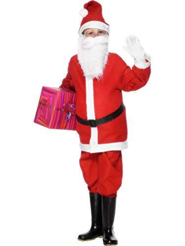 erdbeerclown - Jungen Kinder Kostüm Nikolaus Weihnachtsmann, Jacke Hose Gürtel Mütze, Santa Claus, perfekt für Weihnachten Karneval und Fasching, 140-152, Rot