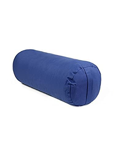 10 X 29 Round Yoga Bolster - Removable Canvas Cover, Natural Cotton Filler, Navy Blue by CLEVERBRAND INC.