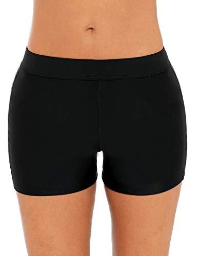 Anwell Damen Board Shorts Mittlere Taille Swim Bottom Sport Boyshorts einfarbig Schwarz XL