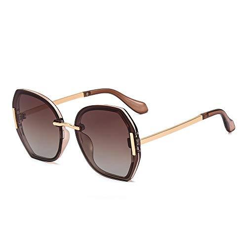 Sonnenbrille Mode Polarisierte Sonnenbrille Große Rahmen Polygonal Sonnenbrille Bunte Joker Brille für Frauen, Tee Frame Progressive Tea
