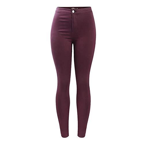 ERLIZHINIAN Hohe Taille und Burgund elastischer Denim Jean Women`s Hosen dünner Bleistift Frau Jeans (Color : Burgundy, Size : XS)