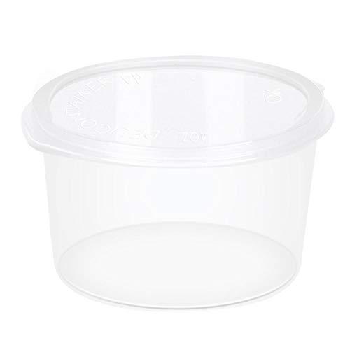 4 Unzen klare runde Plastiksaucenbecher Vorratsbehälter für Lebensmittel Einweg-Chutneybecher Vorratsbehälter für Lebensmittel Schleimbehälter mit Deckel Luftdicht, mikrowellen- und spülmaschinenfest, (Cups In Oz 4)