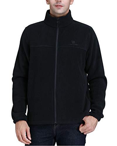 CAMEL CROWN Herren aktiv mit durchgehendem Reißverschluss Fleece-Jacke mit sicherer reißverschlusstaschen elastisch-Stulpe und saumregulierung XXL Schwarz-02 (Erstellen Sie Eine Sales-team)