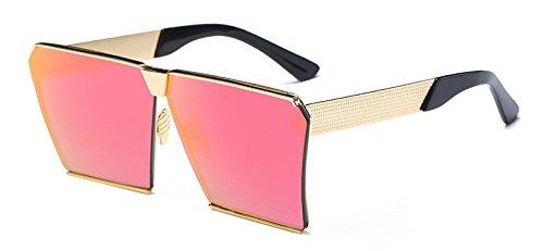 Hykis Metal Sonnenbrille Marke Designer super gro?er Rahmen 15 Farben Vintage-Sonnenbrillen Frauen Sunnies Shades oculos de sol feminino [Gold Rosa Rot]