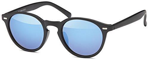 Balinco Runde Vintage Sonnenbrille im angesagten Unisex Rund für Herren & Damen - Retro Brille (Schwarz-Blau)