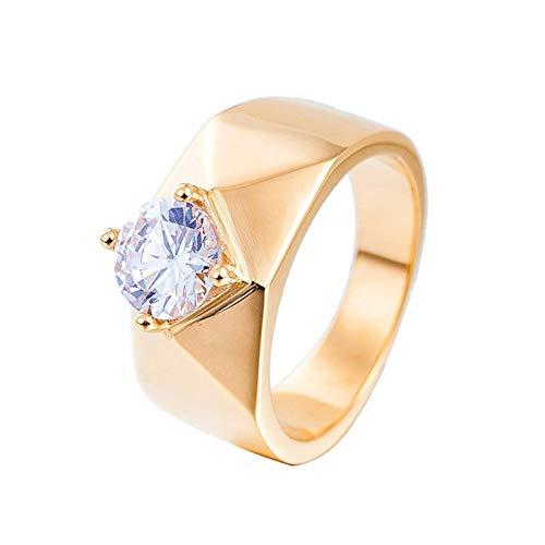 Anwaz Herren Ringe aus Edelstahl, Einfach Stil Glatt Form Trauringe Antragsringe Herrenringe mit Weiß Zirkonia Gr.62 (19.7) (Weissgold London Ring Topas Blue In)