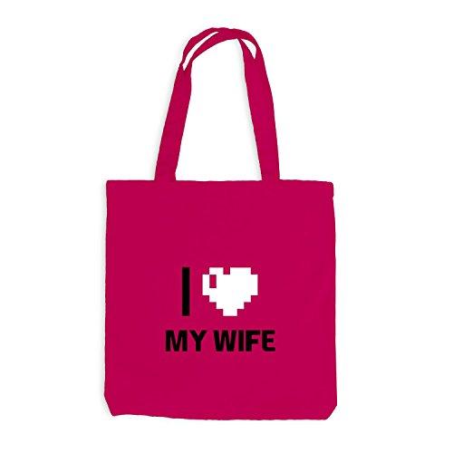 Jutebeutel - I Love My Wife - Traumfrau Herz Heart Pixel Pink