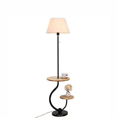 Nordic Couchtisch Stehlampe Wohnzimmer Schlafzimmer Nachttisch Massivholz Einfache Moderne Stehlampe mit Doppel Regalen E27 0606P -