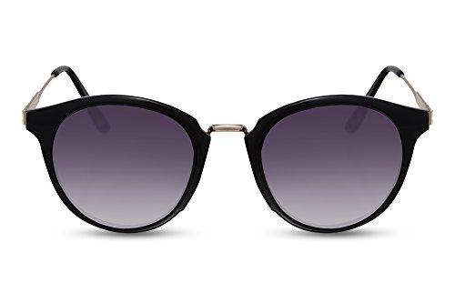 Cheapass Sonnenbrille Rund Schwarz Grau-e Linsen UV-400 Vintage Designer-Brille Metall-Rahmen Damen Herren