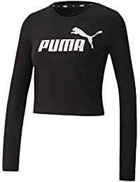 PUMA ESS+ Logo LS Fitted tee Camiseta, Mujer, Black, S