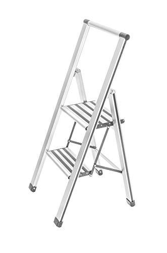 Wenko 601015100 Escabeau Pliable Aluminium 2 ma. Blanc, 47 x 8 x 107 cm