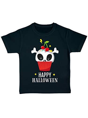 clothinx Kinder T-Shirt Bio Halloween Cupcake Schwarz Größe 92