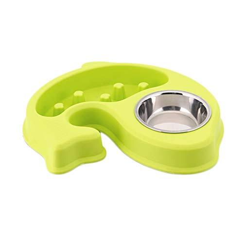 Haodan electronics-Näpfe Anti-Futternapf Katze Katze Reis Schüssel Welpen Slow Food Doppel Schüssel Welpen Liefert Food Bowl Pet (Color : Green)