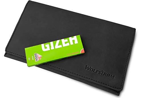 Leder Tasche Beutel (Wolfstrøm Tabaktasche Halona - Tabak-Beutel Leder, Set inkl. Gizeh Papers - Dreher-Tasche mit Magnetverschluss, Filterfach & Blättchen-Halter - Schwarz)