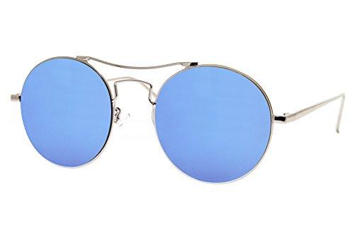 Cheapass Sonnenbrille Rund Verspiegelt Silber Blau Designer Brille UV400 Metall Damen