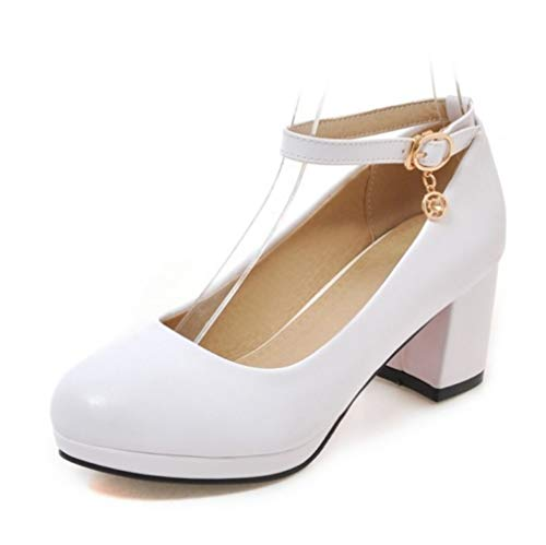 LIANGXIE Office Ladies Round Toe High Heels Schuhe Ladies Ankle Strap High Block Heels Girl Mid Heel Buckle Sandals Closed Toe Court Shoes Oversized Size,White,36