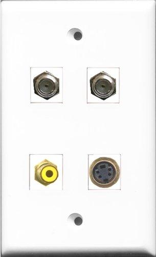 RiteAV 1Port RCA gelb 2Port Koax-Kabel, Accessoires F 1Port S-Video Wall Plate -