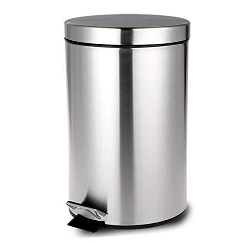 LWX Verdickter Mülleimer Mit Deckel, Bad Büro Pedal Edelstahl Mülleimer Papierkorb Home Küche Schlafzimmer Lagerung Eimer 5-12L Hohe Kapazität (Farbe : D, größe : 12L)