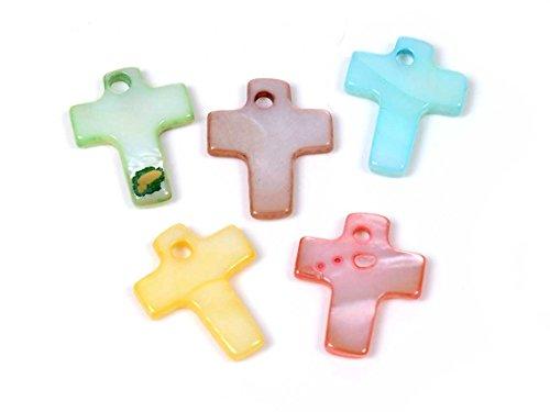 Vintageparts Anhänger aus Perlmutt als Kreuz im Farbmix 20 Stück DIY Schmuck Perlmuttanhänger Schmuckanhänger
