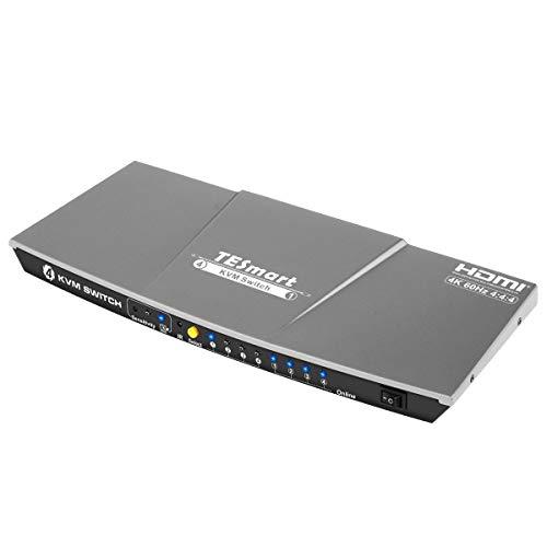 TESmart 4fach-HDMI-KVM-Switch - 4K-Ultra-HD mit 3840 x 2160 bei 60 Hz 4:4:4; unterstützt USB-2.0-Gerätebedienung bis max. 4 Computer/Server/DVR (Grau)