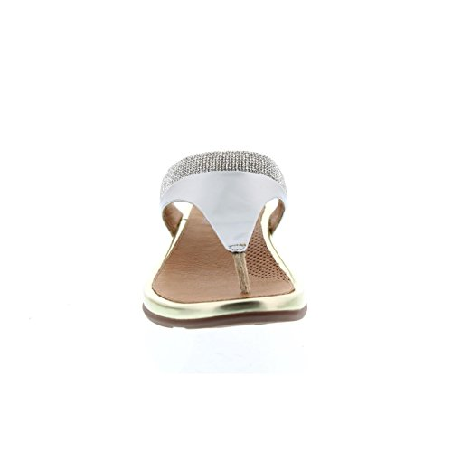 FitFlop Banda Tm Micro-Crystal Toe-Post, Tongs Femme Or Pâle