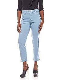 f3b70ab23b7b1 B.C. Best Connections Used-Look Hose Damen Chinohose Trendige  Kontraststreifen Stoffhose Blau