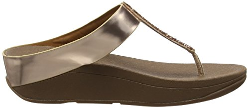 FitFlop Fino Toe-Post, Sandales Bout Ouvert Femme, Noir Pink (Rose Gold)