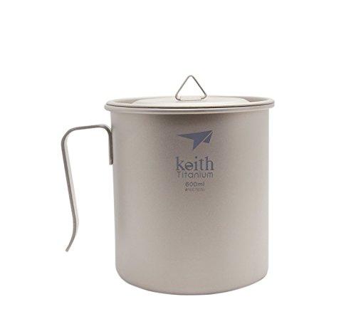 Keith ti3267Titan Camping Tasse, ULTRALIGHT Tasse mit Griff, einschichtige Becher 600ml