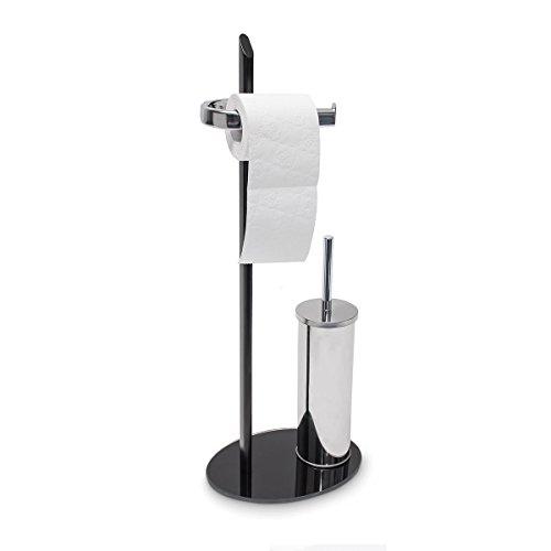 Relaxdays WC Garnitur KLAAS in Edelstahl-Optik, Standfuß aus Glas, HBT 70 x 28 x 20 cm Bürstengarnitur mit Klobürste und Halter WC-Ständer samt WC-Bürste mit Bürstenhalter, silber / schwarz