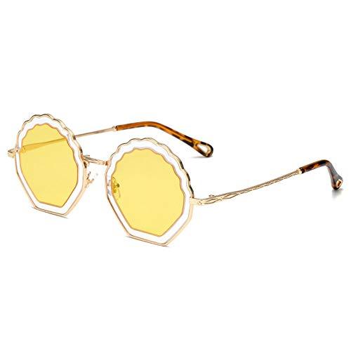 Z&HA Runde Sonnenbrille der Frauen Brille Vintage Metallrahmen und Harz Verlaufsglas UV400 Reise Brille,02