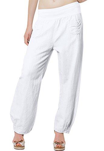 CASPAR KHS006 leichte bequeme Damen Sommerhose / Leinenhose Größen 36 S bis 46 XXXL, Farbe:weiss;Größe:M - DE38 UK10 IT42 ES40 US8