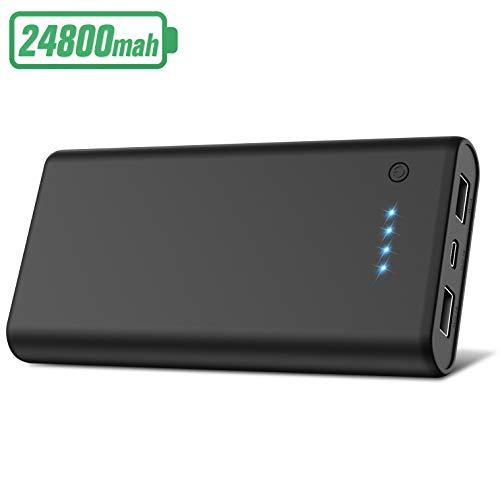 Hetp power bank 24800mah, caricabatterie portatile caricatore cellulare carica veloce, batteria esterna con 2 usb porte, batteria portatile per tablet android ios smartphone -nero