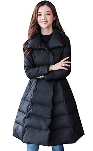 Piumino donna lunga taglie forti cappotto autunno vintage invernali leggermente imbottito giacca trapuntata fashion casual manica lunga con tasche chiusura bottoni giacche cappotti invernali