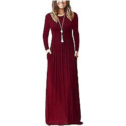 ZNYSTAR Mujer Casual Playa Estidos Largos Maxi Vestido con Bolsillo (Small, Wine Red)