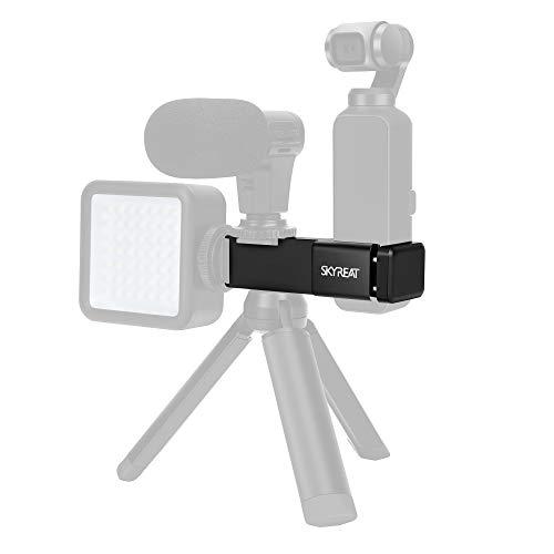 SKYREAT Supporto per Microfono Esterno in Alluminio per Accessori da DJI Osmo Pocket, con 2 interfacce per Pattino Freddo e 1/4Supporto per Foro per Viti