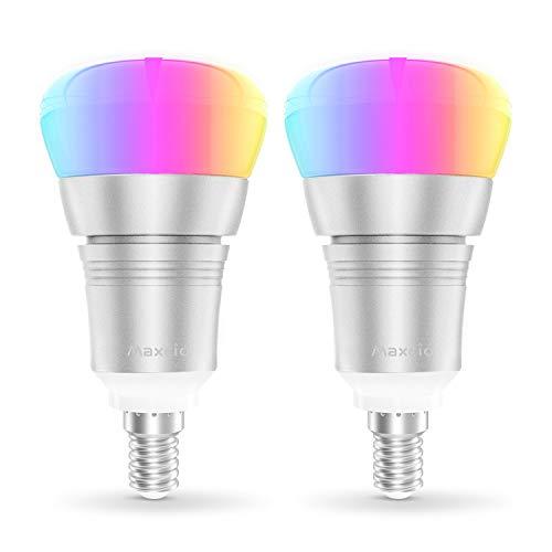 Smart Alexa Lampe, Maxcio Wifi Led Glühbirne, [9W E14], Kompatibel mit Amazon Alexa und Google Home, Fernsteuerung via App, Timing Funktion, Buntes und Dimmbares Licht, 8 Szene-Modus - 2 Packs