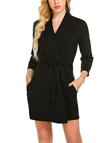 Skione Morgenmantel Bademantel Damen Baumwolle Kimono Saunamantel Schlafanzug warm V-Ausschnitt Nachtwäsche Bademantel Nachtwäsche