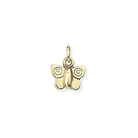 Jewelco London Ladies 9ct Yellow Gold Lightweight 3D Butterfly Charm Pendant 10x9mm