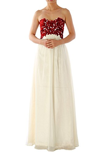 MACloth Women Strapless Long Chiffon Lace Prom Party Dress Evening Formal Gown Rot