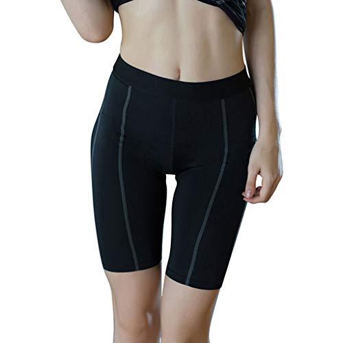 Qiuday Short de Yoga pour Femme à Taille Haute et surpiqué à la Taille Extensible Pas Cher Yoga...