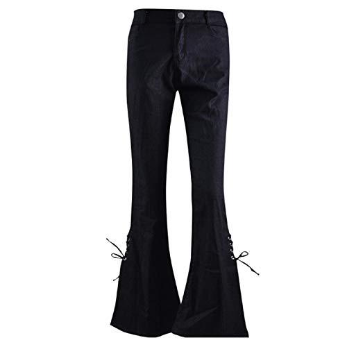 Malloom-Bekleidung Damen Sommer Baumwolle Pumphose Lang Elegant, Frauen Sommer Gummiband Plus lose Denim Bogen beiläufige Aufladungs Schnitt Hosen Jeans -