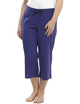 Señoras Mujeres 3/4longitud lino pantalones con cintura elástica