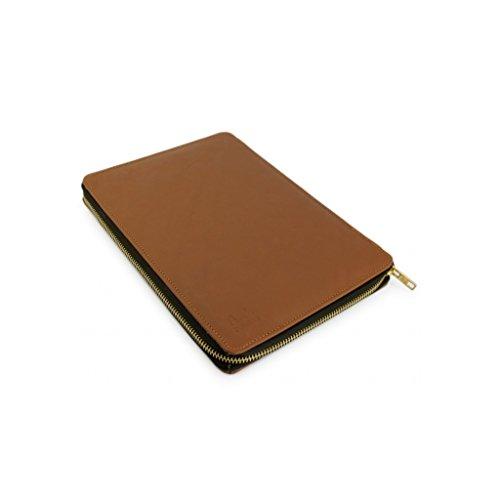 A.P. Donovan - Leder Notebooktasche für verschiedene Modelle - Schutz vor Stößen und Kratzern - Sleeve, Case, Mappe, Hülle mit Reißverschluß - Braun, 180mm x 359mm x 247mm + MACKBOO PRO 15